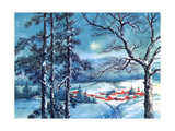 Greeting Card - Winter Scene with Red Village, National Museum of American History Pôsteres