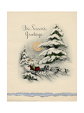 Greeting Card - The Season's Greetings, Winter Scene with Red Carriage Poster