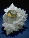 MineralCalendar: Pyrite on Quartz Crystals. Huanzala, Peru Photographic Print