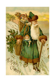Father Christmas Dressed in Green Carrying Baskets of Toys and Holly, Beatrice Litzinger Collection Art