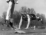 Ladies Softball Player Diving for Third Base, Atlanta, Georgia, 1955 Photo