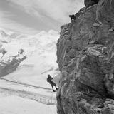 Two Mountain Climbers on the Side of a Mountain in Zermatt, Switzerland, 1954 Foto