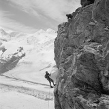 Two Mountain Climbers on the Side of a Mountain in Zermatt, Switzerland, 1954 Photo