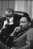President Lyndon Johnson and Martin Luther King Jr. in the Cabinet Room White House. March 18 1966 Foto