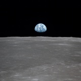 Apollo 11 Earth Rise over the Moon, July 20, 1969 Photo