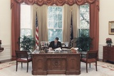 President Reagan Working at His Desk in the Oval Office. July 15 1988. Po-Usp-Reagan_Na-12-0101M Photo