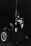 President Kennedy Pointing to a Reporter During a Press Conference, 1961-63 Foto