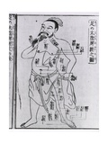 Figure with Acupuncture Points and Meridians from 1805 Japanese Medical Text Poster