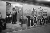 Graffiti on a NYC Subway Car on the Became a Symbol of a City in Decline in 1970s Foto