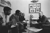 President Johnson with Civil Rights Activists after Signing the 1965 Voting Rights Act Fotografía
