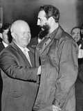 Nikita Khrushchev Greets Fidel Castro at the Russian Legation, NYC, Sept. 23, 1960 Photo
