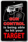 Gun Contro Embossed Tin Sign Carteles metálicos