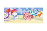 Umbrella Beach Premium Giclee Print by Paul Brent