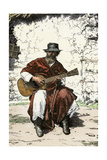 "Argentinian ""Gaucho Cantor,"" or Cowboy Guitar-Player of the Pampas, 1800s Giclee-trykk"