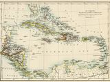 Map of West Indies and the Caribbean Sea, 1800s Impressão giclée
