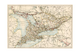 Map of Ontario, Canada, 1870s Stampa giclée