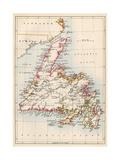 Map of Newfoundland, Canada, 1870s Stampa giclée