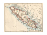 Map of Vancouver Island, British Columbia, Canada, 1870s Giclée-tryk