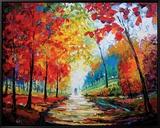 Autumn Impressions Indrammet lærredstryk af Maya Green