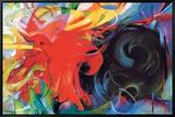 Lutte abstraite Reproduction sur toile encadrée par Franz Marc