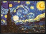 Stjernenatten, ca.1889 Indrammet lærredstryk af Vincent van Gogh