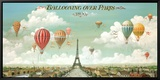 Mongolfiere su Parigi, in inglese Stampa su tela con cornice di Isiah and Benjamin Lane