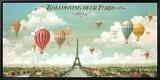 Vol en ballon au dessus de Paris Reproduction sur toile encadrée par Isiah and Benjamin Lane