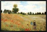 Mohnblumen Leinwandtransfer mit Rahmung von Claude Monet