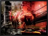 New York Fireworks Leinwandtransfer mit Rahmung von  Braun