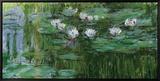 Wasserlilien Leinwandtransfer mit Rahmung von Claude Monet