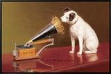 Die Stimme seines Meisters|His Master's Voice Ad Leinwandtransfer mit Rahmung