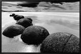 Horizont am Strand, Neuseeland Leinwandtransfer mit Rahmung