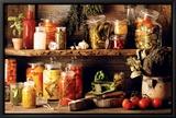 Kleurrijke groenten in wekpotten Ingelijste canvasdruk