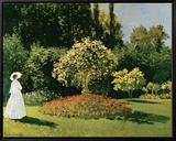 Jeanne Marguerite Lecadre in a Garden, c.1867 Framed Canvas Print by Claude Monet