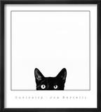 Nieuwsgierigheid, poster van kat met daarbij tekst: Curiosity Affiches van Jon Bertelli