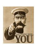 1910s UK Your Country Needs You Recruitment Poster Giclee Print