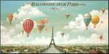 Ballonvaart boven Parijs met Engelse tekst: Ballooning Over Paris Kunst op hout van Isiah and Benjamin Lane