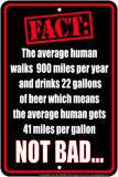 Beer Fact Tin Sign Placa de lata
