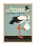 Stork Delivery Service (Blue) Schilderijen van  Anderson Design Group
