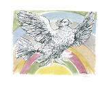 Flying Dove with Rainbow Background, 1952 Kunst von Pablo Picasso