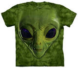 Youth: Green Alien Face T-Shirts