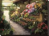 Spring Flower Market Stretched Canvas Print by Montserrat Masdeu