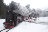 Meter-gauge 2-10-2T Steam Locomotive 99 7238-1 in a Snowy Landscape Photographic Print by Kent Kobersteen