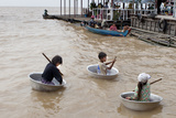 Children Using Large Pans for Boats and Begging From Tourists Photographic Print by Kent Kobersteen