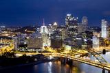 The Monongahela River and Pittsburgh's Fort Pitt Bridge At Dusk Photographic Print by Kent Kobersteen
