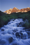 The Maroon Peaks From Maroon Creek Above the Lake in Early Morning Photographic Print by David Hiser