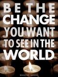 Be the Change Bedruckte aufgespannte Leinwand von Chuck Haney