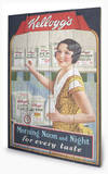 Vintage Kelloggs - Morning, Noon & Night Wood Sign Cartel de madera
