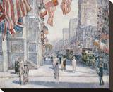 Early Morning on the Avenue in May 1917 Stretched Canvas Print by Childe Hassam