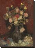Vase with Chinese Asters and Gladioli, 1886 Impressão em tela esticada por Vincent van Gogh